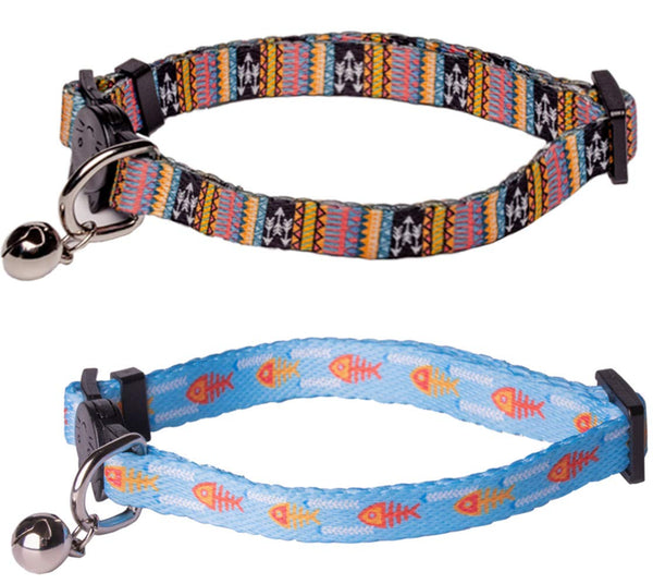 Upaw Nylon Breakaway Cat Collar with Bell for Puppy Kitten (2 Pack)