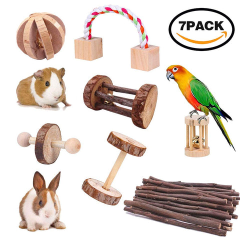 7pcs Hamster Chew Toys - Natural Wooden Pine Dumbells Exercise Bell Roller Teeth Care Molar Toy for Rabbits Rat Guinea Pig and Other Small Pets Play T