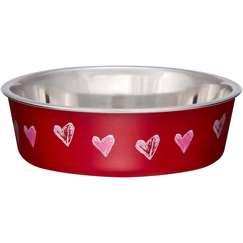 Loving Pets Bella Bowl Designer & Expressions, Dog Bowl, X-Small, Hearts Valentine, Red