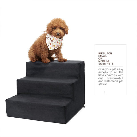 Delxo High Density Foam 3 Tier Pet Stairs,Comfy Micro Suede Pet Steps with Machine Washable Zippered Removable Cover with Anti-Slip Black Dot Bottom L