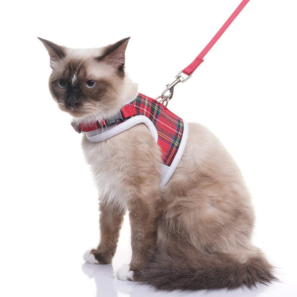 EXPAWLORER Escape Proof Cat Harness with Leash- Christmas Soft Mesh Classic Plaid Cat Harness Vest for Cats and Small Dogs Walking