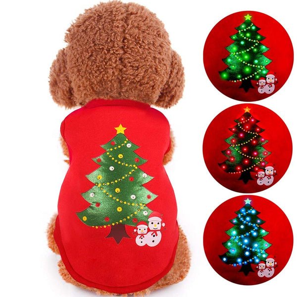 Oneisall Led Light Up Dog Sweater For Christmas Pet Dogs Shirts