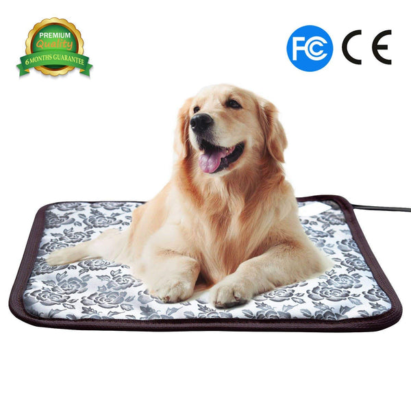 Pet Soft Pet Heating Pad Cat Heating Mat Waterproof Pets Heated Bed Adjustable Dog Bed Warmer Electric Heating Mat with Chew Resistant Steel Cord (17.