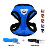 DogJog Mesh Harness with Padded Vest for Puppy and Cats No Choke Design Ventilation Gift with One Leash & Seat Belt