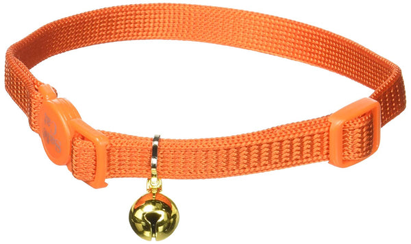 Coastal Pet Products CCP7001SSO Nylon Safe Cat Adjustable Breakaway Collar with Bells, Sunset Orange