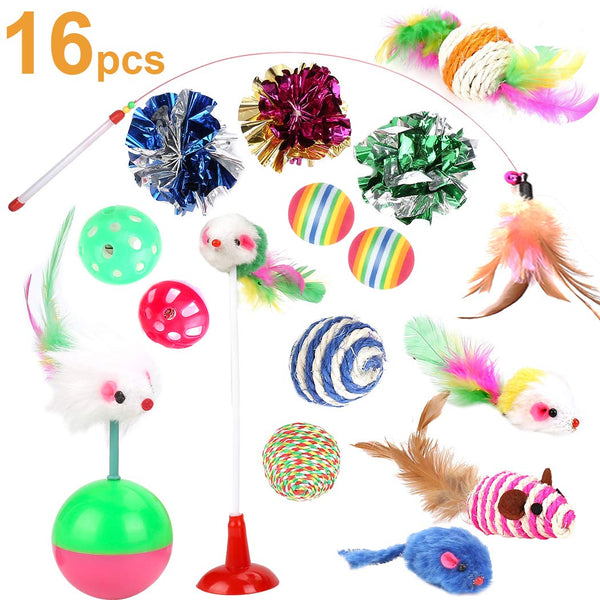 Cat Toys Kitten Toys Assortments, 16PCS Variety Kitty Toy Set Including Interactive Feather Teaser Toy, Mouse Tumbler, Mylar Crinkle Balls Rainbow Bal