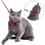 Mihachi Cat Harness Adjustable with Removable Bowtie-for Kitty & Rabbit,Plaid Harness and Leash Set