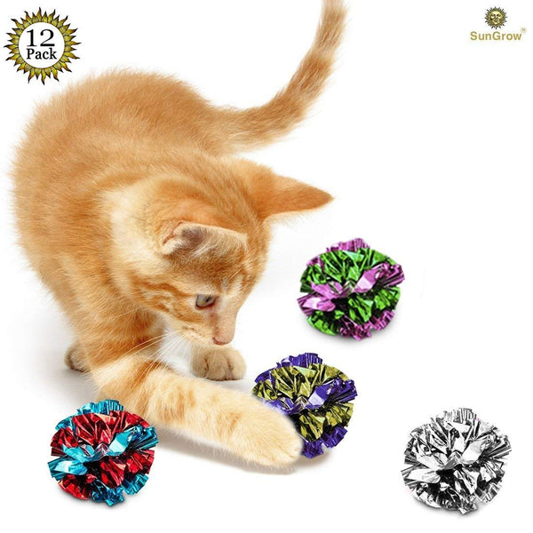 Mylar Crinkle Balls for Cats - Soft, Lightweight & Fun Toy for Both Kittens & Adult Cats - Shiny & Stress Buster Toy - Interesting Crinkly Sounds - Ho