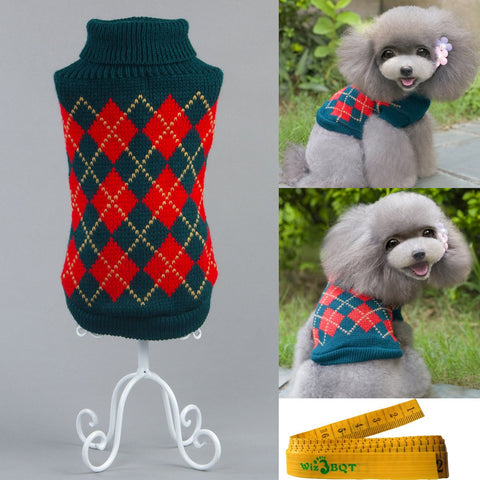 Wiz BBQT Gentle Knitted Turtleneck Chic Argyle Pet Sweater Knitwear for Dogs & Cats