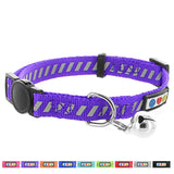 Pawtitas Pet Traffic Reflective Cat Collar Safety Buckle Removable Bell Cat Collar Kitten Collar Cat Collar