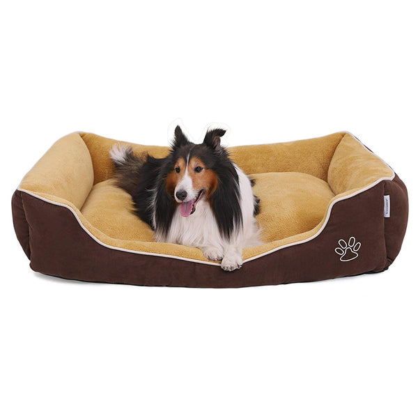 SONGMICS Plush Dog Bed Sofa with Detachable and Machine Washable Cover, Brown and Yellow