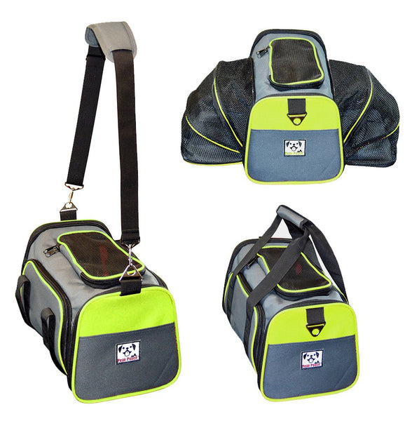 Peak Pooch - Expandable Foldable Airline Approved IATA Carry On Travel Pet Dog Cat Soft-Sided Carrier w/Fleece Bed