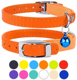 CollarDirect Leather Cat Collar, Cat Safety Collar with Elastic Strap, Kitten Collar for Cat with Bell Black Blue Red Orange Lime Green