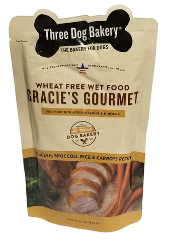 Three Dog Bakery Gracie's Gourmet Entrée for Dogs, Rice Recipe, 14/Pack