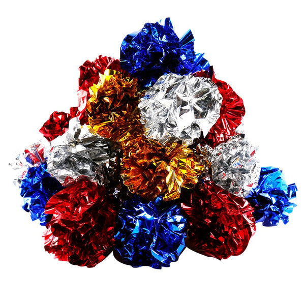 YGDZ 20 Pack Original Mylar Crinkle Balls Cat Toys, Shiny & Stress Buster Toy, Interesting Crinkly Sounds