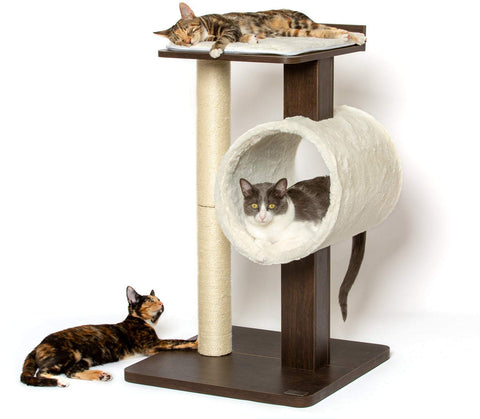 "PetFusion Modern Cat Tree House & Tall Scratching Post (33"" Tall). Modern and Neutral Platforms, Espresso Finish"