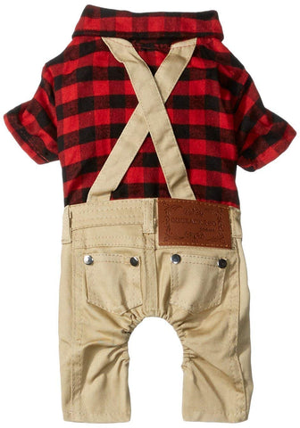 SMALLLEE_LUCKY_STORE Pet Clothes for Dogs Cat Red Plaid Shirts Sweater with Khaki Overalls Pants Jumpsuit Outfits