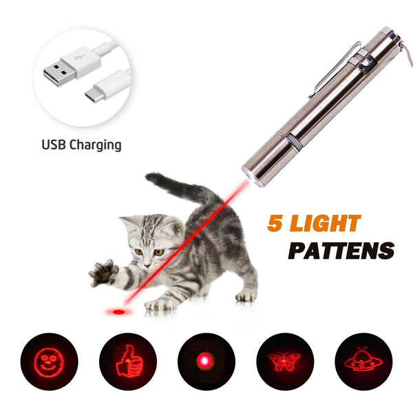 RIO Direct Chase Cat Toy for Endless Fun, Multi Pattern Funny & Mini Flashlight Interactive LED Light Entertain and Train Your Pets - USB Charging