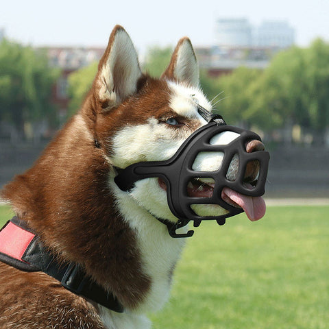 SHUNAI Dog Muzzle, Rubber Basket Muzzles for Small,Medium,Large,Extra Large Dogs, Adjustable and Breathable Design, Stops Biting, Barking and Aggressi