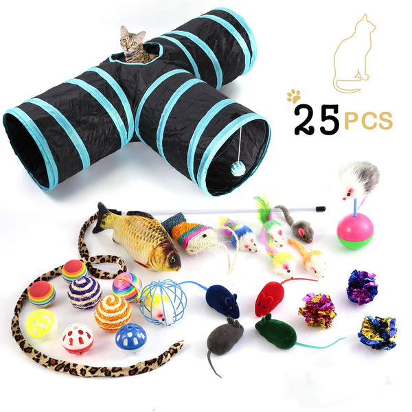 Cat Toys Variety Pack, Including 3 Way Tunnel with Ball, Teaser Wand, Interactive Feather Toy, Fluffy Mouse, Crinkle Balls, Catnip Fish for Kitty, Pup