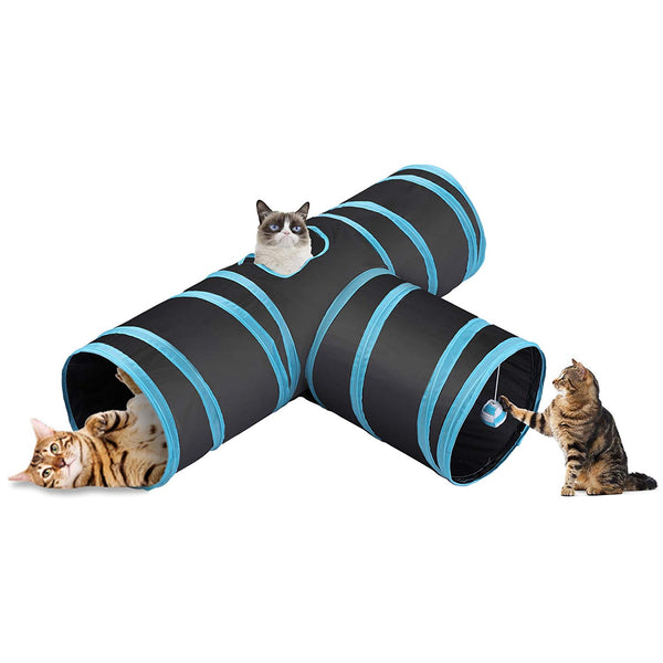 CO-Z Collapsible Cat Tunnel Tube Kitty Tunnel Bored Cat Pet Toys Peek Hole Toy Ball Cat, Puppy, Kitty, Kitten, Rabbit (3-Way Black)