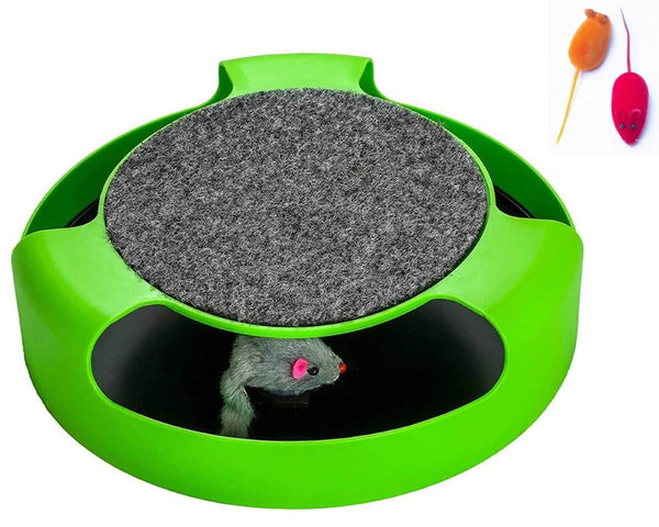 AroPaw Cat Toys Interactive - Cat Toy with Rotating Running Mouse and A Two in One Scratching Pad - Catch The Mouse - Catnip Toy Mouse (Catnip Not Inc