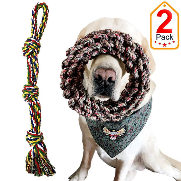 Extra Large Breed Dog Toys, Dog Rope Toys for Large Dogs Aggressive Chewers Tug of War, Durable Thick Cotton Dog Chew Toy Set Interactive Dog Toys 2 P