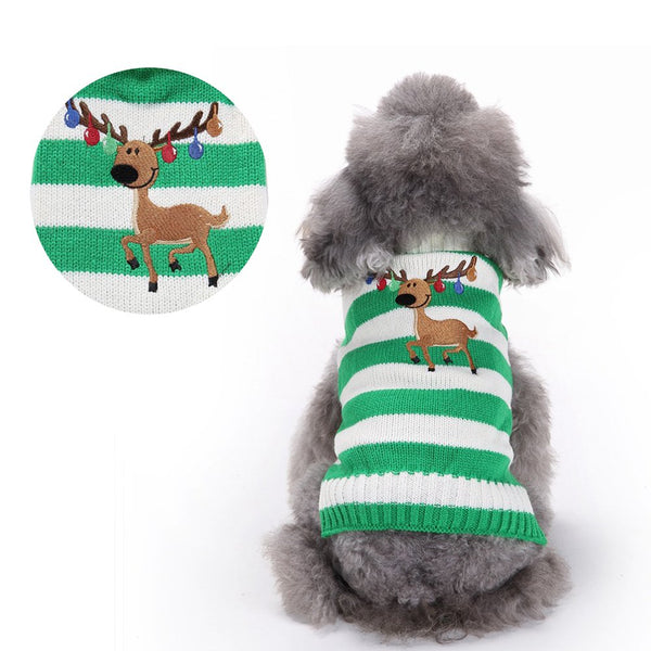 BOBIBI Pet Cartoon Reindeer Christmas Dog Sweater Pet Winter Knitwear Warm Clothes