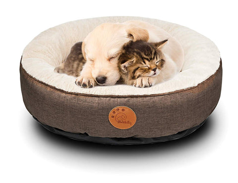 HACHIKITTY Dog Bed Washable Removable Cover Small Medium Round Indoor Cat Bed Waterproof Chew Resistant Cuddler Pet Bed for Medium Dogs