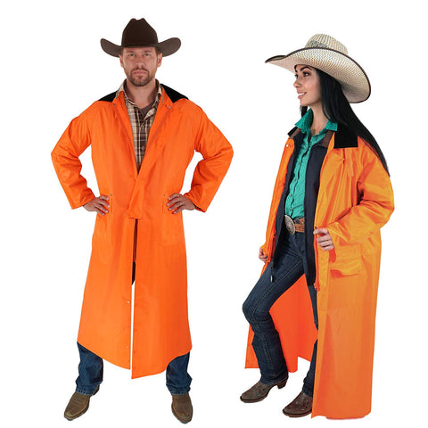 Southwestern Equine American Cowboy Saddle Slicker Rain Coat Duster – 100% Waterproof Full Length Unisex