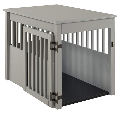 BarkWood Large Pet Crate End Table - Grey Finish