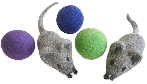 Earthtone Solutions Felt Wool Ball and Mouse Toys for Cats and Kittens, Adorable Colorful Soft Quiet 4cm Fabric Balls, Unique Handmade Natural, Eco-Fr