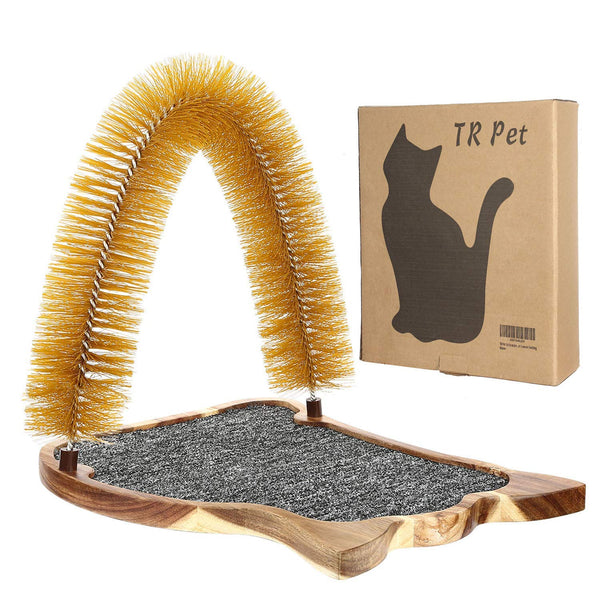 Cat Scratcher Grooming Arch Toy - Pet Cat Arch Self Groomer Massager Fur Groom Scratcher Toys Brush Controls Shedding Acacia Wood Mat Construction