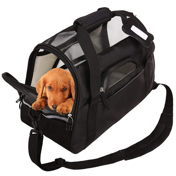 SAWMONG Portable Pet Carrier Airline Approved Ventilated Comfortable Soft Sided Bag Home For Dogs Cats Or Puppies