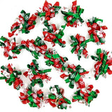Hixixi 20pcs/Pack Pet Dog Cat Xmas Hair Bows Puppy Grooming Bows Hair Accessories Rubber Bands