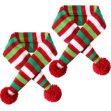 Blulu 2 Pieces Christmas Pet Knit Scarf Dog Winter Striped Scarves Xmas Pet Costume Accessories