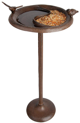 Esschert Design Birdbath & Feeder on Stand-Antique Brown