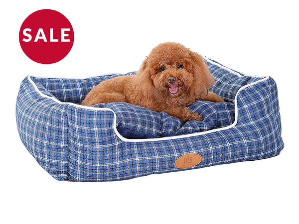 PLS Birdsong Trellis Bolster Plaid Dog Bed, Pet Bed, Cat Bed, Blue, Removable Cover, Completely Washable