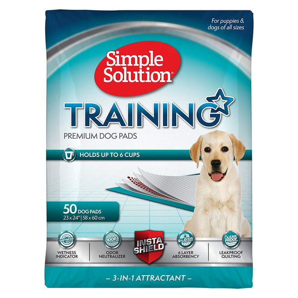 Simple Solution Training Puppy Pads | 6 Layer Dog Pee Pads, Absorbent Leak Proof, Standard