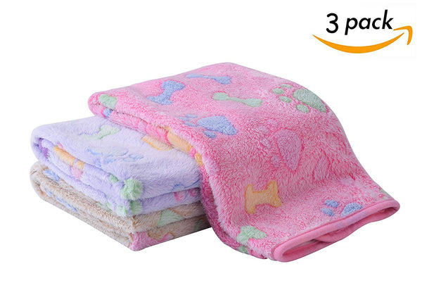 "SCENEREAL Fleece Dog Bed Throw Blanket - Best Soft Warm Cute Pet Crate Couch Cover Blankets 3 Pcs/Set for Small and Medium Dogs Puppy Cats 19.5"" x 27."