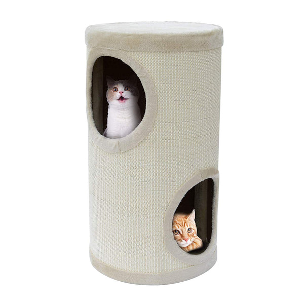 windaze Cat Condo 2 Story Double Hole Cat Tower Kitten Tree with Scratching for Playing, Climbing and Snoozing