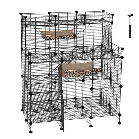 SONGMICS Multi-Tier Cat Playpen, Cat Cage, Cat Condo, Large Customizable 3-Door Wire Pet Home, with Hammocks, Balcony, Ramps, Doors and Locks, Black U