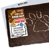 "iPrimio Dog Extra Thick Micro Fiber Pet Dog Door Mat - Super Absorbent. Includes Water Proof Liner - Extra Floor Protection - Medium Size 32"" X 19"" Ex"