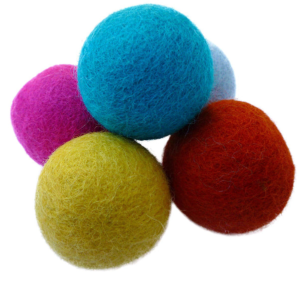 Earthtone Solutions Set of 5 Wool Felt Ball Toys for Cats and Kittens, Adorable Colorful Soft Quiet 4cm Felted Fabric Balls, Unique Handmade Natural,
