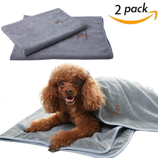 "SCENEREAL Microfiber Dog Absorbent Bath Towels 2 Pcs/Set Grooming House Bathroom Quick Drying Towel Best for Small to Large Dogs Cats Pets Size 24"" x"