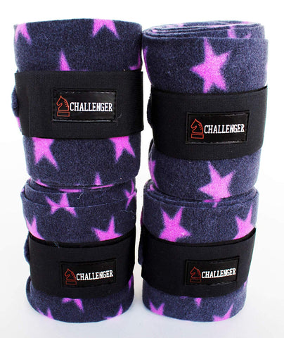 Challenger Set of 4 Equine Polo Horse Leg Wraps Purple Stars 95R22