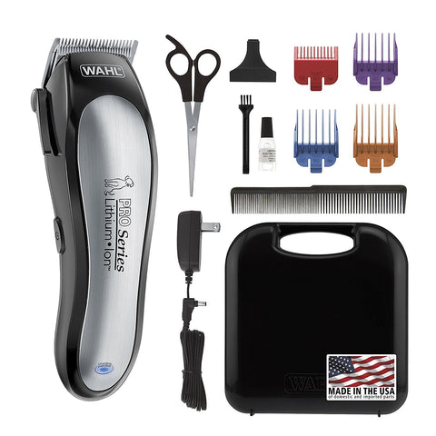 WAHL Lithium Ion Pro Series Cordless Dog Clippers, Rechargeable Low Noise/Quiet Dog Grooming Kits Hair Cut Small/Large Dogs, Thick Coats, Cats The Bra