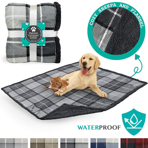 PetAmi Waterproof Dog Blanket for Bed Couch Sofa | Warm Sherpa Pet Throw Blanket | Super Soft Microfiber Fleece | Reversible Design for Puppy and Larg