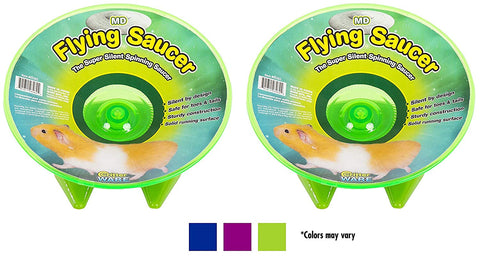 (2 Pack) Ware Flying Saucer Small Pet Exercise Wheels, 7-1/4-Inch, Medium, Colors May Vary
