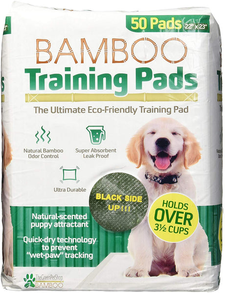 The Green Pet Shop 22x23 Eco-Friendly Bamboo Rayon Training Pads, Great for Housebreaking & Training Your Puppy, Super Absorbent with a Fresh Scent